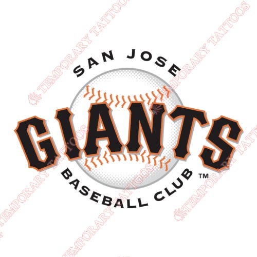 San Jose Giants Customize Temporary Tattoos Stickers NO.7681