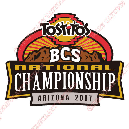 BCS Championship Game Primary Logos 2007 Customize Temporary Tattoos Stickers N3245