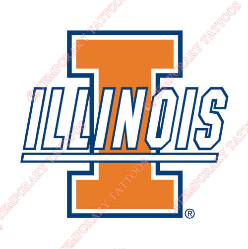Illinois Fighting Illini Customize Temporary Tattoos Stickers NO.4609