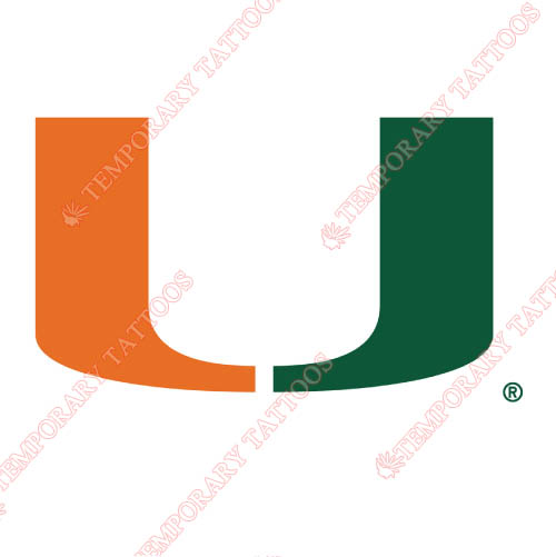 Miami Hurricanes Customize Temporary Tattoos Stickers NO.5042