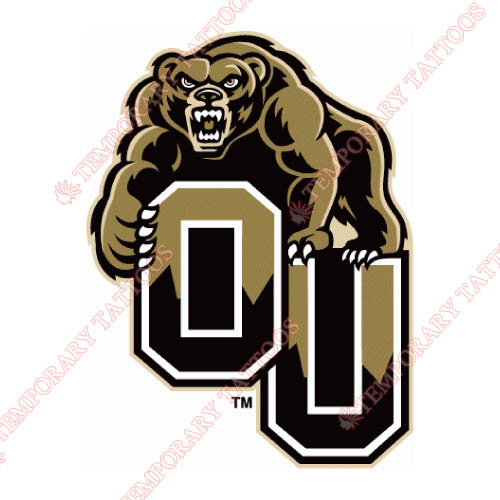 Oakland Golden Grizzlies Customize Temporary Tattoos Stickers NO.5732