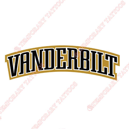Vanderbilt Commodores Customize Temporary Tattoos Stickers NO.6799