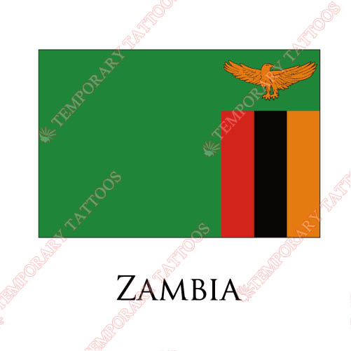 Zambia flag Customize Temporary Tattoos Stickers NO.2022